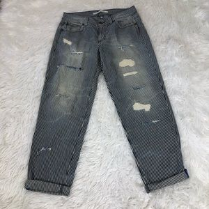 Rachel Roy Striped Distressed Railroad Jeans 29